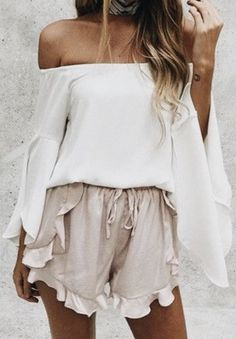 Ruffle shorts off the shoulder top