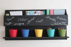 kid craft corner -shelf to store supplies