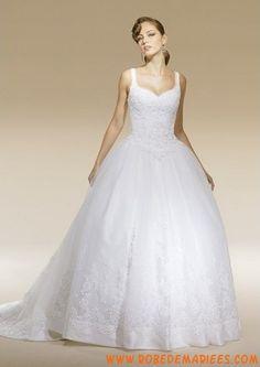 Robe de princesse en satin et organdi avec bretelles agrémentée de broderies robe de mariée de luxe ♥
