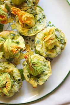 Zucchini Blossom Mini Quiches - Cool idea to depart from the typical fried, cheese filled zucchini flower