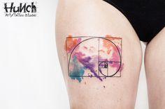https://www.facebook.com/hunchartstudio #watercolor #tattoo #fibonacci