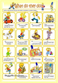 Present continuous with the Simpsons worksheet - Free ESL printable worksheets made by teachers Teaching Grammar, Teaching Aids, Teaching Reading, Teaching English, The Simpsons, English Lessons, Learn English, Present Continuous Worksheet, Simple Present Tense