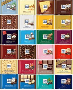 Ritter Sport Chocolate Gift Set 24 X Ritter Sport Gift Set Assorted German Chocolate Bars, Chocolate Sweets, Chocolate Gifts, Candy Recipes, Gourmet Recipes, Olympia, Fini Tubes, Chocolates, Ariel Cake