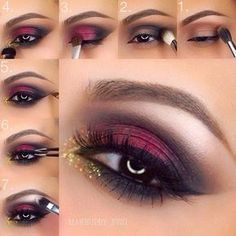 Red Eye Makeup with Pop of Gold Glitter