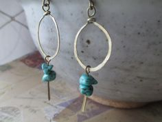 Turquoise Earrings Hammered Brass Earrings  Blue Turquoise  Earrings Southwest Earrings  Hoop Earrings Dangle Earrings   Earrings under 10