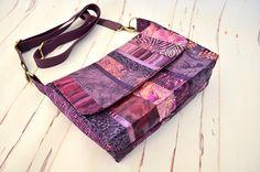 Purple boho cross body bag patchwork shoulder bag batik