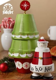 Plaid® Jolly Santa Glitter Tree Centerpiece
