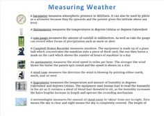 This poster or handout gives brief explanation of how different elements of the weather is measured. Weather And Climate, Poster, Billboard
