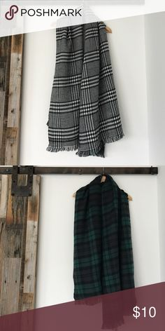 Reversible blanket scarf Super soft! Black and white plaid on one side. Green, navy blue, and black plaid on the other. Can be worn multiple ways. Accessories Scarves & Wraps