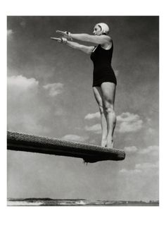 Competitive swimmer and diver Helen Meany went to the Olympics three times and came away with a gold medal in diving in 1928. Edward Steichen photographed Meany, poised for action on the edge of a springboard, for a September 1932 Vanity Fair article titled 'Ladies From Olympus.'