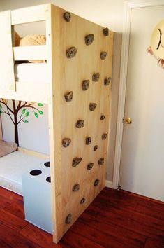 DIY Toddler Bed with rock climbing wall - Kids Bedroom - FinchFound Indoor Climbing Wall, Rock Climbing, Climbing Holds, Kids Climbing, Diy Toddler Bed, Casa Kids, Kids Bunk Beds, Loft Beds, Kid Spaces