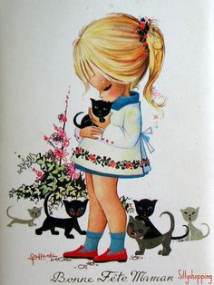 Vintage Big Eyed Girl Postcard by Gallarda