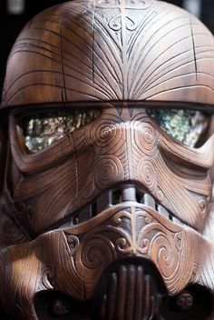 Wooden Stormtrooper Helmet by sdoorly, via Flickr --- Wow! I want this!!!