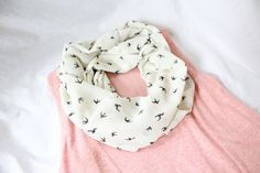 Blackbirds on Cream Chiffon Infinity Scarf available in baby, toddler and adult sizes or Mommy & Me Sets