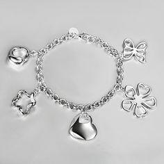 Fashion Heart Flower Star-Shape 22cm Silvery Alloy Charm Bracelet(1 Pc) – GBP £ 6.91