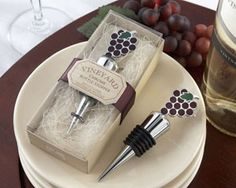 """Vineyard Select"" Enamel and Chrome Bottle Stopper - Available at hotref.com"