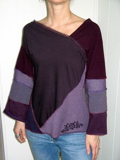 Turnaround Designs Upcycled Tshirt Tunic Top Purple, Burgundy, Smallish. $69.00, via Etsy.