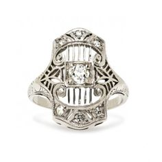 vintage antique diamond ring / trumpet & horn