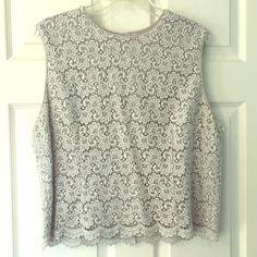 Talbots Formal Lace Lined Top Silver Party 16/18 Lined in grey. Formal lace top buttons down the back. Has some slight discoloration under arms & minor stains that are barely noticeable, so this expensive top is priced accordingly so that you can have it cleaned. Says Sz 18 but I would call this a 16 actually since it's lined Talbots Tops Blouses