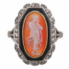 Victorian Cameo Ring with Rose Cut Diamond Trim Circa 1890 (via @1stdibs)