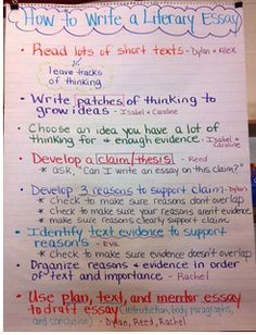 characteristics of a literary essay the art of teaching how to write a literary essay anchor chart