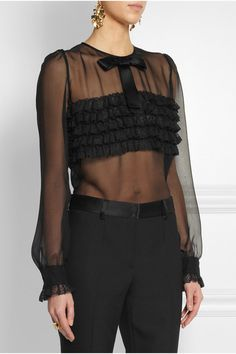 Dolce and Gabbana's romantic lace-ruffled blouse is cut from light-as-air silk-blend.