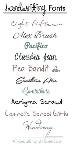 A Typical English Home: Best Handwriting Fonts