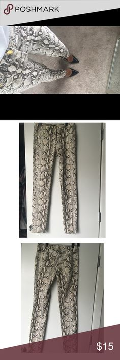 H&M Snake Print Pants H&M snake print pants, fun to pair with heels or sneakers worn a couple of times. Pants are cotton with 3% elastane so they do give a little stretch room. They do have two front and back pockets. H&M Pants Skinny