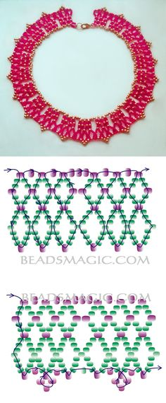 Free pattern for beautiful beaded necklace Salma 11/0-8/0 kása gyöngy