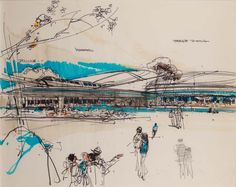 American Pavillion concept, EPCOT Center, Walt Disney World - Herb Ryman Walt Disney Imagineering, Concept Draw, Epcot Center, Disney Hotels, Disney Concept Art, Vintage Disneyland, Old Disney, Disney Sketches, Scenic Design