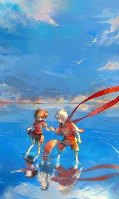 Orange through the blue sky
