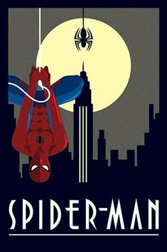This awesome Art Deco inspired poster illustrates everyone's favourite wall crawler in front of a blacked out city. One of Marvel's most memorable, Spider-man is seen is his most famous pose, hanging upside down from a single silk. The amazing character is spotlighted by the full moon and the darkness of New York behind him, a must have for any fan's collection. Official merchandise.