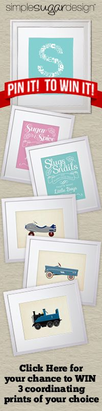 Simple Sugar Design Pin It To Win It Contest! Enter to win 3 prints of your choice! Simple Sugar, Nursery Inspiration, Giveaway, Cool Designs, Cool Stuff, Frame, Prints, Ideas, Fashion