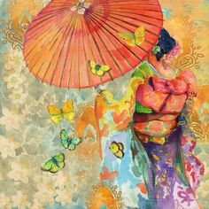 Umbrella Butterflies by Evelia Painting Print on Wrapped Canvas