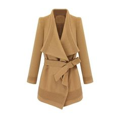 Irregular Long Sleeve Lapel Lacing Camel Coat (€64) ❤ liked on Polyvore featuring outerwear, coats, jackets, coats & jackets, casacos, lapel coat, collar coat, brown coat, camel lapel coat and long sleeve coat