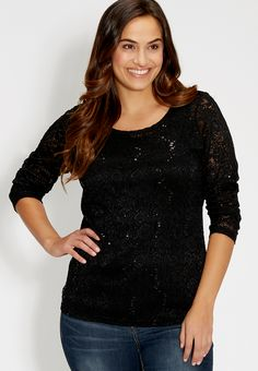 plus size lace tee with sequins - #maurices
