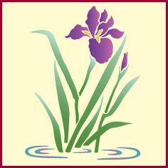 Water Iris Stencil