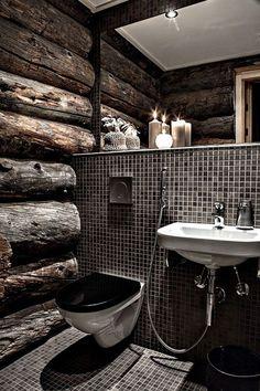 Black and wood bathroom