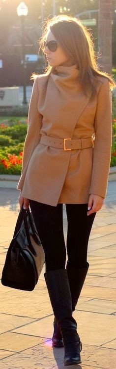 I NEED this jacket!!#WholesaleHandBagClan,Attractive Combination for Ladies on Street, Jacket, Legging, Handbag, Long Boots
