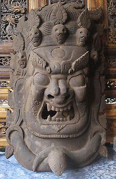 $160 + 60  Huge 24 inch Antique Masterquality Hand Carved Wooden Tibetan Buddha Mask Nepal   eBay