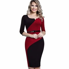 Cheap dresses promotion, Buy Quality dress casual attire women directly from China dresse Suppliers: Women Casual Elegant Work Business Office Belted Colorblock Contrasting Fitted Bodycon Pencil Dress Casual Work Dresses, Office Dresses, Work Casual, Casual Dresses For Women, Dresses For Work, Clothes For Women, Casual Office, Casual Wear, Women's Casual