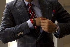 windowpane suit suitsupply details bracelets tie men style fashion blog #suitup