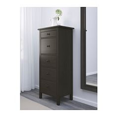 IKEA - HEMNES, Chest with 5 drawers, black-brown, , Made of solid wood, which is a durable and warm natural material.Smooth running drawers with pull-out stop.If you want to organize inside you can complement with SKUBB box, set of 6.
