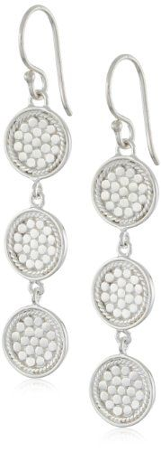 Anna Beck Designs %22Gili%22 Sterling Silver Wire Rimmed Triple Disk Drop Earrings