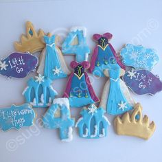 Frozen themed vanilla sugar cookies! Loved making the Elsa and Anna dress cookies :)