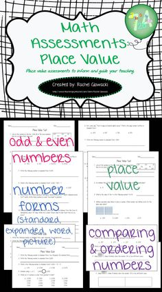 FREE! These Place Value Math Assessments contain 4 high quality quizzes, 2 comprehensive tests, and answer keys.  They cover the following place value topics: odd/even, number forms (standard, expanded, word, picture), comparing numbers, and ordering numbers. These assessments are FREE and are perfect for standardized test prep. If like them, check out the other sets in my store!