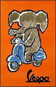 Vespa Scooter 1958 Vintage Poster Art Print Elephant Riding Blue Scooter