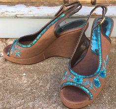 Vintage Unworn Designer Beverly Feldman Chocolate Wedge Heels Blue Sequins 9 in Clothing, Shoes, Accessories, Women's Shoes, Heels Wedge Heels, Sequins, Wedges, Chocolate, Blue, Ebay, Vintage, Shoes, Fashion
