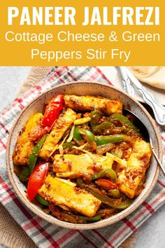 Paneer Jalfrezi is a colorful vegetarian stir fry made with cottage cheese, vegetables like onions, tomatoes, green peppers, and powdered spices. It is a simple and healthy recipe that's quite popular with paneer lovers everywhere. Ready and on the table in 25 minutes! Vegetarian Stir Fry, Healthy Stir Fry, Vegetarian Recipes, Healthy Recipes, Free Recipes, Easy Recipes, Indian Paneer Recipes, North Indian Recipes, Easy Indian Recipes