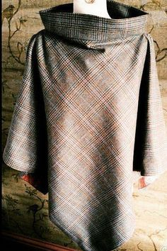 Boat Neck Lined Scottish Tweed Poncho